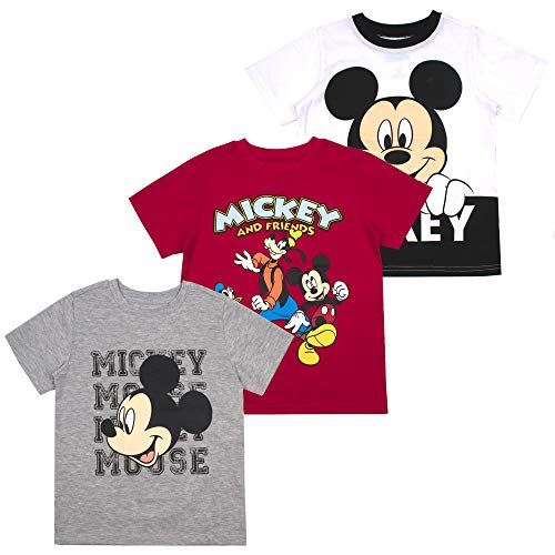 Mickey Mouse Friends Boys' T-Shirt (Pack of 3) 4T White
