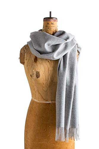 Maloca | Baby Alpaca Oversized Scarf | 100% Baby Alpaca Wool | Ethically Sourced | Naturally Resists Dirt and Moths | Hypoallergenic | 28 x 75 inches | Light Grey