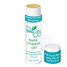 Stocking Stuffer BANISH CHAPPED LIPS Natural Lip Balm by Emu Joy Ultra Moisturizing Emu Oil, Coconut Oil, Beeswax, Cocoa Butter and Other Natural Lip Moisturizers ¼ oz Size Contains 50% MORE Than Most Lip Balms