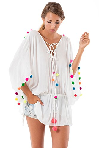 Sundress Women's Wovens LouLou Pom Pom Tunic Swim Cover Up White M/L by Sundress