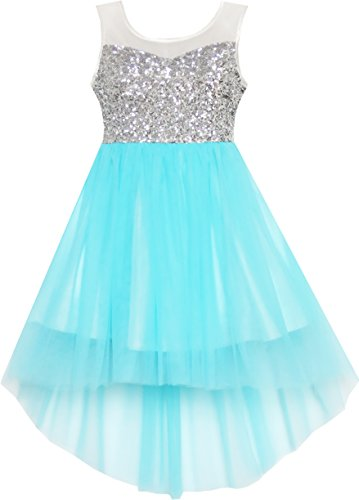 Sunny Fashion Flower Girls Dress Blue Sequin Mesh Party Wedding Bridesmaid Size 6