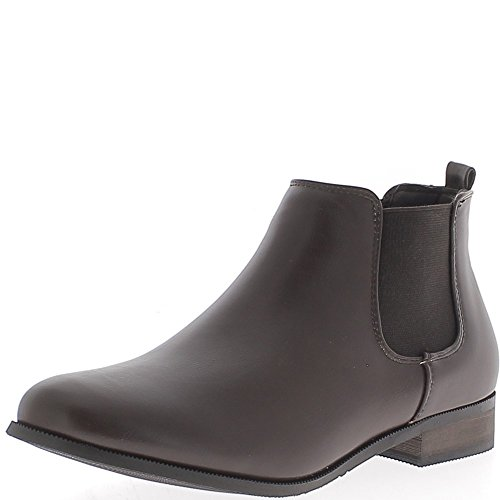 Bottines basses marron à talon de 2,5cm aspect cuir brillant