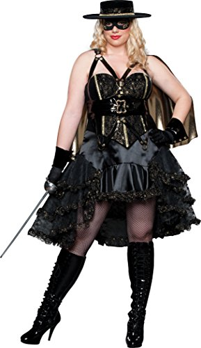 Zorro Female Costume (InCharacter Costumes Women's Bandita Plus Costume, Black/Gold,)