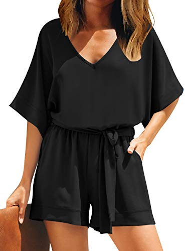 Utyful Women's Black Casual V Neck 3/4 Bell Sleeve Belted Chiffon One Piece Romper Shorts XL
