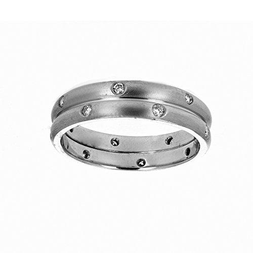 Wedding Ring,, 18Kt White Gold Mens Diamond Wedding Ring, 0.28Ct -