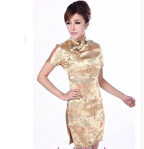 7583fe4c26c9b 「 ショート チャイナドレス 金XL   チャイナ服 衣装 ミニドレス セクシードレス 中国服