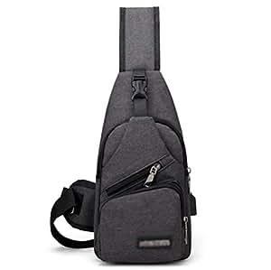 FUOE Sling Bag Crossbody Bag Shoulder Chest Back Pack Anti Theft Travel Bags (Black)