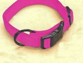 3 PACK ADJUSTABLE DOG COLLAR, Color: HOT PINK; Size: 3/4 X16-22 (Catalog Category: Dog:WALKING ACCESSORIES)