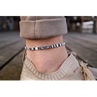 Mens Surfer Anklet - Boho Ankle Bracelet for Men or Women - Handmade Beach Jewelry - Music Festival Accessories - 100% Waterproof and Adjustable - Thin String Rope Anklet (White)
