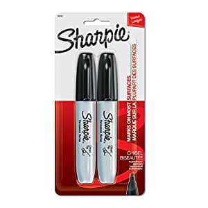 Sharpie Permanent Markers, Chisel Tip, Black, 2 Count
