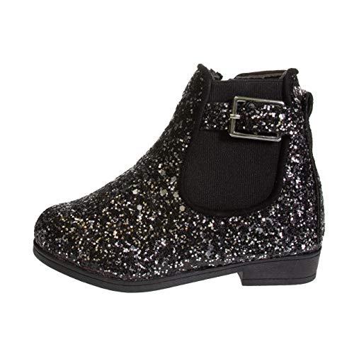 bebe Toddler Girls Glitter Boots Size 8 Buckle Straps Slip-On Low-Heel Fashion Shoes Black Multi
