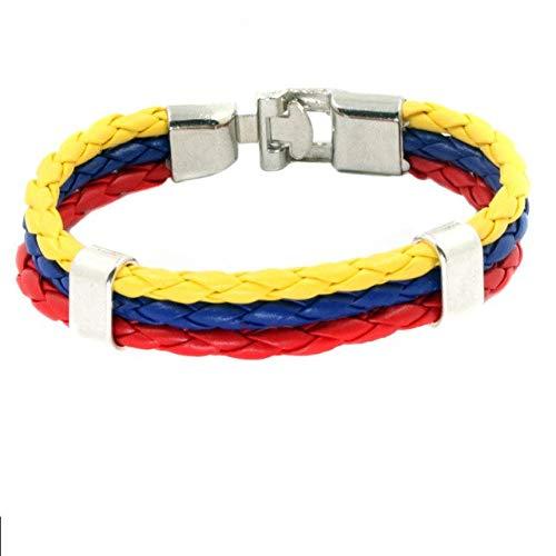 (Gabcus Handmade National Flag Color PU Bracelet Bangles Rock Punk 2018 Pulseira Masculina Jewelry Charm Braid Football Bracelet - (Metal Color: Colombia 22cm) )