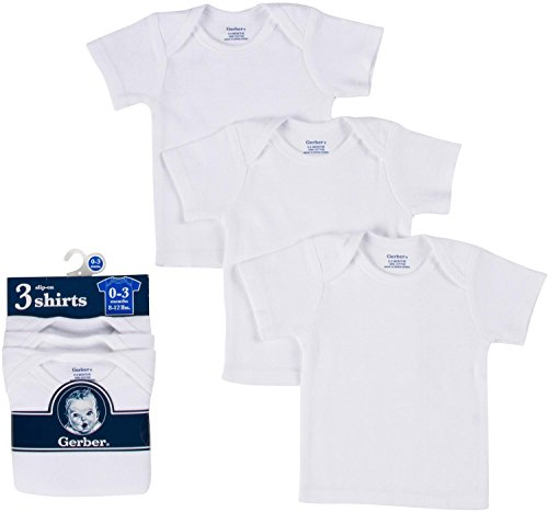 Gerber Brand 3 Pack White Pullon Short Sleeve Shirt