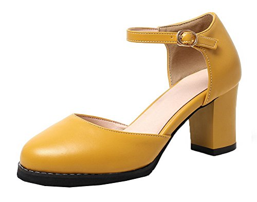AalarDom Mujeres de Tacón Amarillo Redonda Medio Vestir Puntera Sandalias Sólido PU rRqOdwra