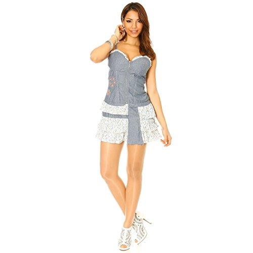Miss Wear Line - Robe en jean bleu avec volant imprimé liberty
