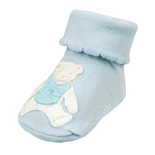 Soft Touch Teddy Bear Baby Socks - Blue, Pink or White Pink