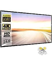 Projector-canvas, 16:9 HD, 4K draagbaar projectiescherm, opvouwbaar, wandmontage, voor thuisbioscoop, binnen en buiten, eenvoudige projectie, voor thuisbioscoop, klaslokaal, kantoor