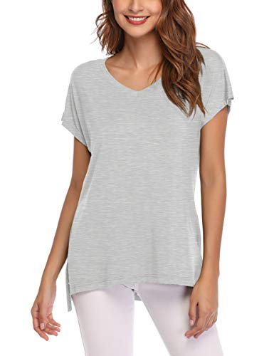 (AUPYEO Women's Short Sleeve T Shirt V Neck Loose Tops Casual Tee with Side Split Heather Gray)