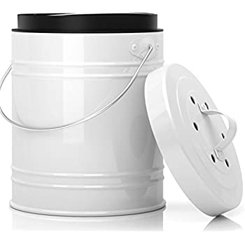 Oversized 1.3 Gallon Kitchen Compost Bin with Plastic Liner & Charcoal Filters In White & Black - Sturdy Construction & Odor-Free Seal To Prevent Bugs And Smell. Dishwasher Safe with No Assembly