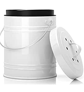 Oversized 1.3 Gallon Kitchen Compost Bin with EZ-No Lock Lid, Plastic Liner & Charcoal Filters In White & Black - Sturdy Construction & Odor-Free Seal To Prevent Bugs And Smell. Dishwasher Safe