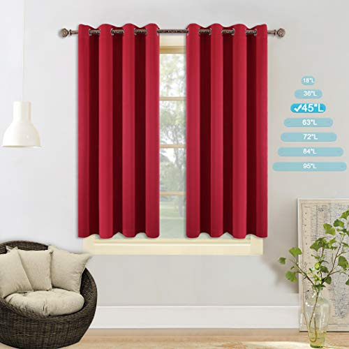 YGO Small Window Blackout Curtains - Thermal Insulated Window Treatments Light Block Energy Saving Drapes Eco-Friendly for Bedroom, Width 52