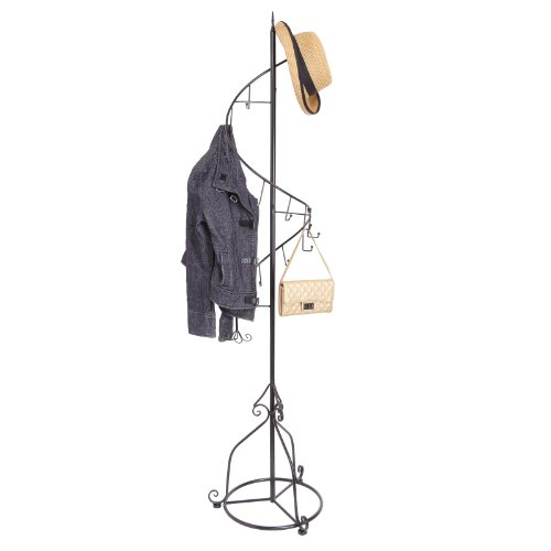 Decorative Caddy Florida - MyGift Elegant Black Metal 14 Hook Spiral Coat Hanger/Bag Display/Garment Rack Stand