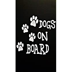 "Dogs On Board Dog Paw Prints Vinyl Decal Sticker|WHITE|Cars Trucks Vans SUV Laptops Wall Art|5.25"" X 5.25""