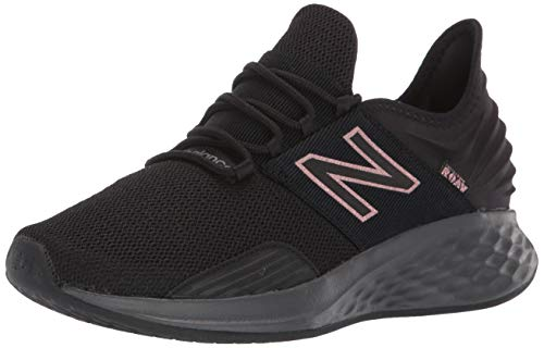New Balance Women's Roav V1 Fresh Foam Running Shoe, Magnet/Black/Champagne Metallic, 6 D US
