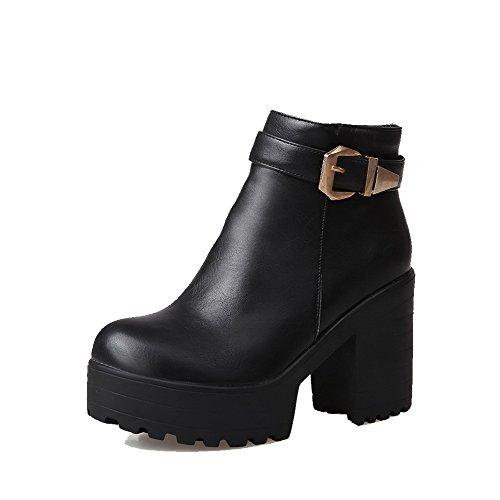 PU pour femmes à Allhqfashion Noir à solides fermeture Chaussures talons avec en Bottes glissière Iwfpq8Bf