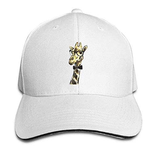 Kidhome Unisex Adjustable Plain Hat Giraffe Wearing Glasses Sporting Baseball Cap Outdoor Snapback Hat White