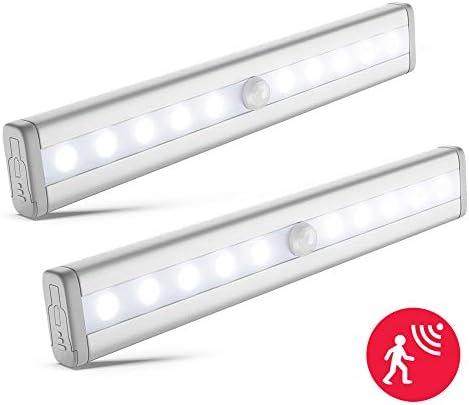 LED Schrankbeleuchtung 2x | Batterie betrieben | Bewegungsmelder | Schranklicht | Wandlicht | Vitrinenbeleuchtung | Nachtlicht mit Bewegungssensor | 2er Set