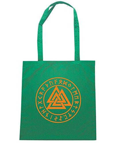 T-Shirtshock - Bolsa para la compra TIR0266 Valknut, Wotans Knot, runes Verde