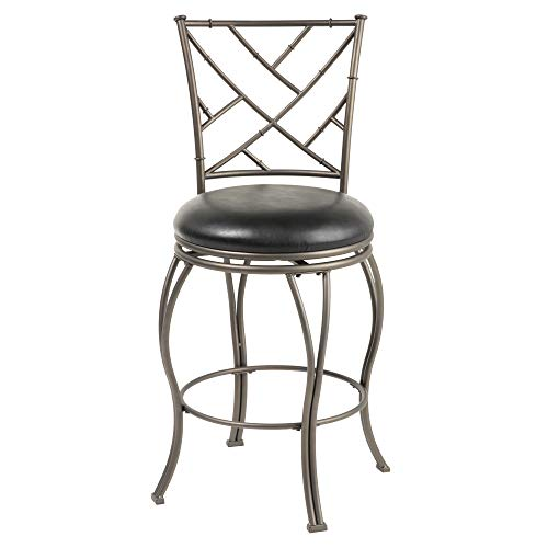 Leggett & Platt Honolulu Swivel Seat Bar Stool with Coffee Finished Metal Frame, Sculpted Legs and Black Faux Leather Upholstery, 30-Inch Seat Height