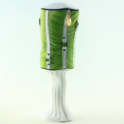 Driver Headcover – Lipped Out – Green and White Ribboon – By Kiki Golf, Outdoor Stuffs