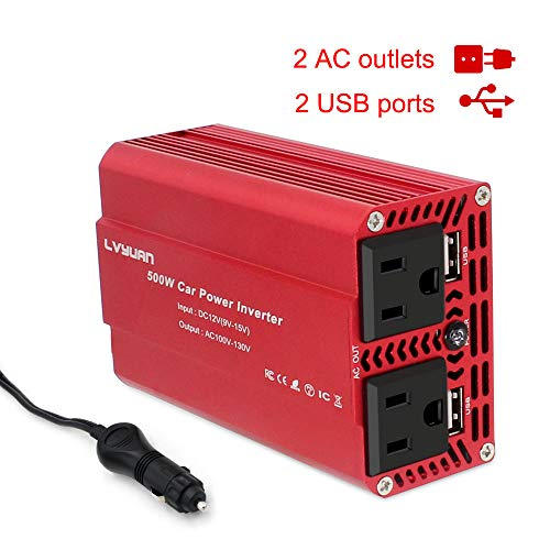 Yinleader Car Power Inverter 500W DC 12V to AC 110V Car Inverter with 2 USB Charging Ports, Power Converter with 2 AC Outlets Car Charger, Car Adapter