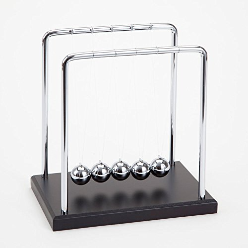 "Price comparison product image Bits and Pieces - Newton's Cradle - Iconic Isaac Newton Kinetic Toy - Office Desktop Gift - 5-1/2"" wide x 5-1/2"" deep x 5-3/4"" tall"