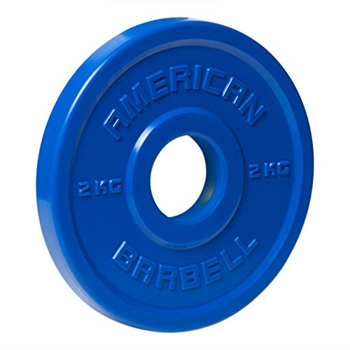 American Barbell Urethane Fractional Olympic Weight Plates - 2 KG Pair - Blue - Fraction Plates for Micro-Loading by Ironcompany.com