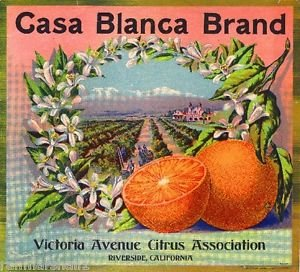 - MAGNET Riverside Casa Blanca #3 Orange Citrus Fruit Crate Magnet Art Print