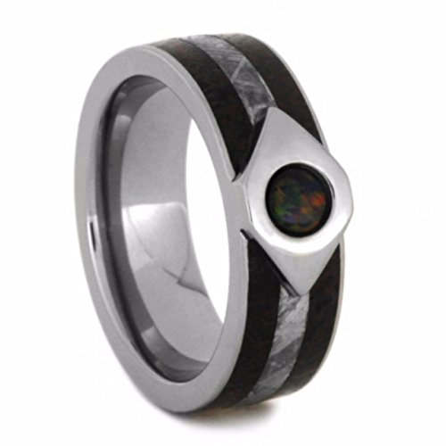 Created Black Fire Opal, Dinosaur Bone, Gibeon Meteorite 7mm Comfort-Fit Titanium Wedding Band, Size 10 by The Men's Jewelry Store (Unisex Jewelry)