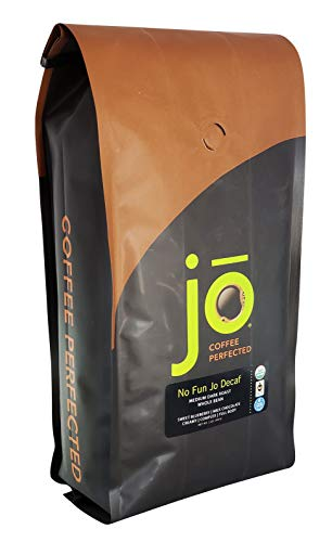 NO FUN JO DECAF: 2 lb, Organic Decaf Coffee, Swiss Water Process, Fair Trade Certified, Medium Dark Roast, Whole Bean Arabica Coffee, Certified Organic, Chemical Free, Gluten Free, Nice Decaf Espresso