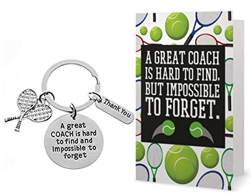 Infinity Collection Tennis Coach Keychain & Card Gift Set, Tennis Coach Gifts, Great Coach is Hard to Find Coach Keychain
