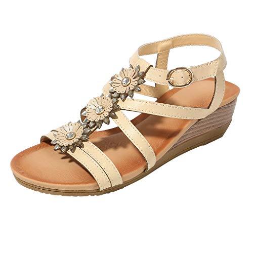 〓COOlCCI〓Women's Flat Sandals, Summer Bohemian Sandals T-Strap Rhinestone Slip on Flip Flops Shoes Khaki