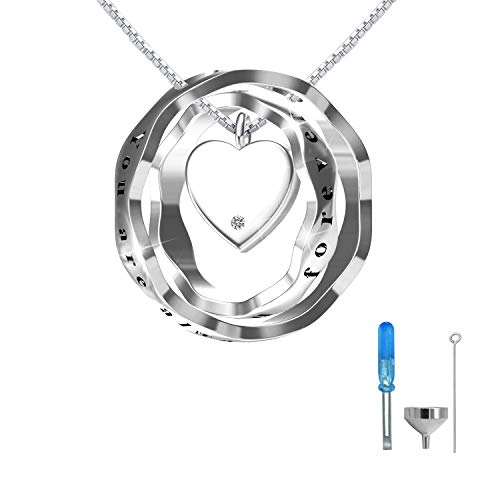 oGoodsunj S925 Sterling Silver Cremation Jewelry Urn Pendant Necklace Ashes Keepsake Necklaces for Women - You are Always in My Heart I Love You Forever (White)