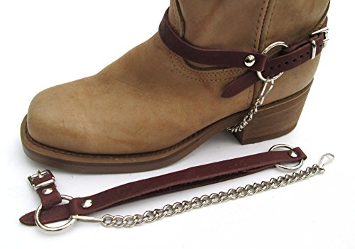 Biker Bota Chains Brown Topgrain Cowhide Leather Arnés Straps