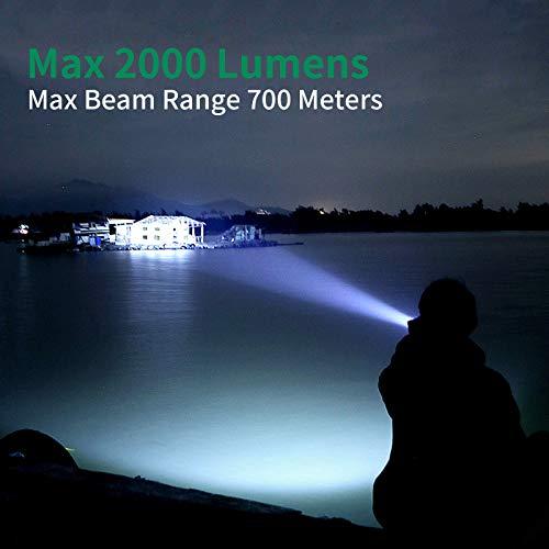 Linterna LED, Táctica Linterna 2PCS Alta Potencia 2000 Lúmenes, Linterna Militar con 5 Modos, Zoom IN/out, rango de luz de 700M Impermeable IPX4 para exteriores, senderismo, camping