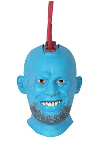 Yondu Mask with Fin Costume Props for Adult Halloween Latex Green ()