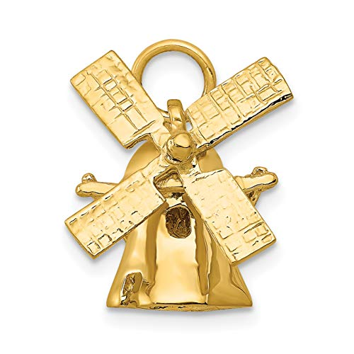 14k Yellow Gold Solid Polished Moving Windmill Charm 15x13mm