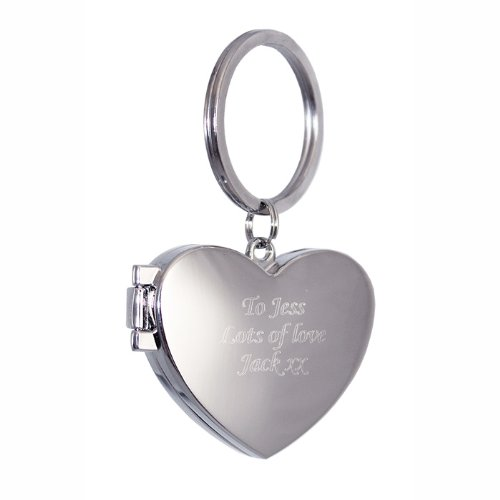 Personalized Engraved Heart Photo Key Ring- Shipped From England (Personalized Keychain)