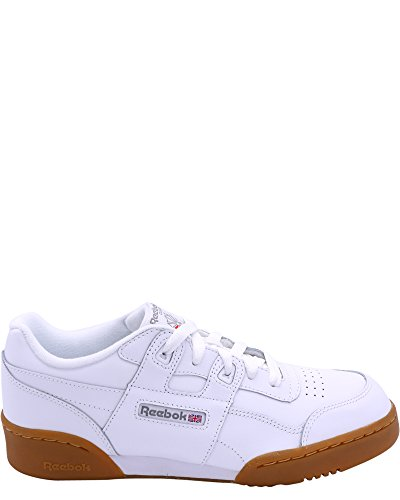 Reebok Unisex-Kids Workout Plus Sneaker, White/Carbon/Classic Red, 5.5 M US Big Kid by Reebok