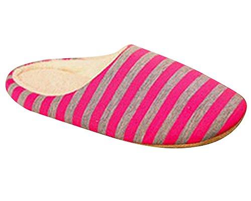 à Chaussons à Hommes Pantoufles l'hiver Anti femmes Chauds et rayures d'intérieur Rouge Chaussures Dérapant fantxwvfq